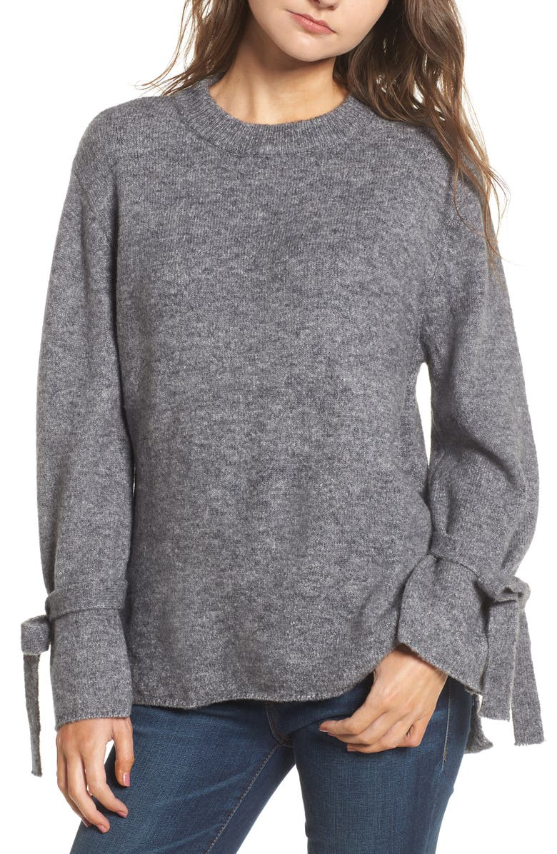 DREAMERS BY DEBUT Flared Tie Sleeve Sweater, Main, color, 050