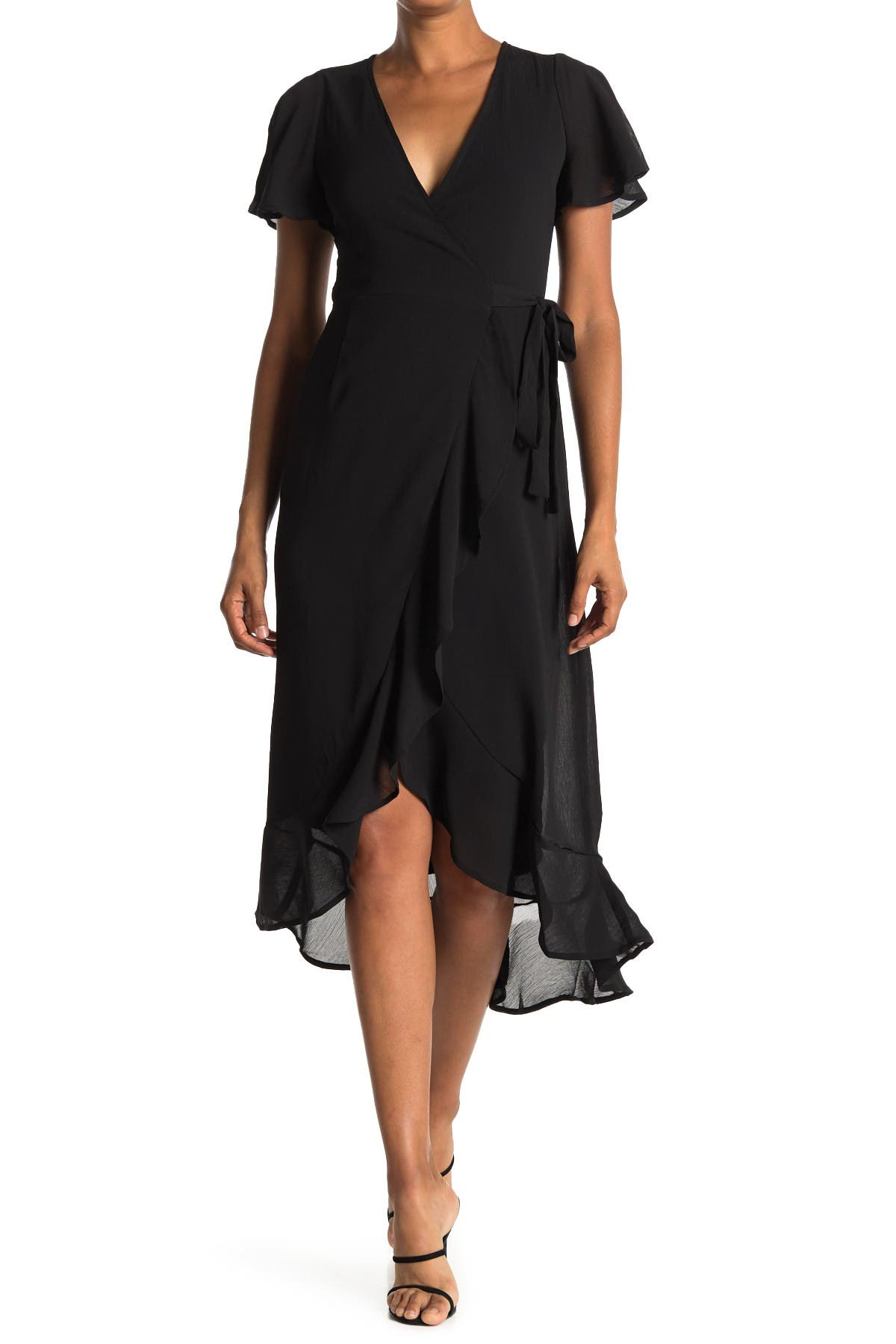 Image of FAVLUX Flutter Sleeve Wrap Midi Dress