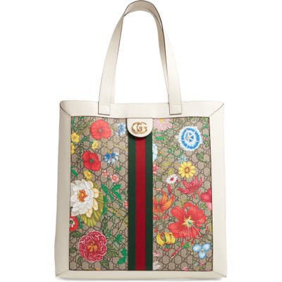 Gucci Large Ophidia Floral Gg Supreme Canvas & Leather Tote - Beige
