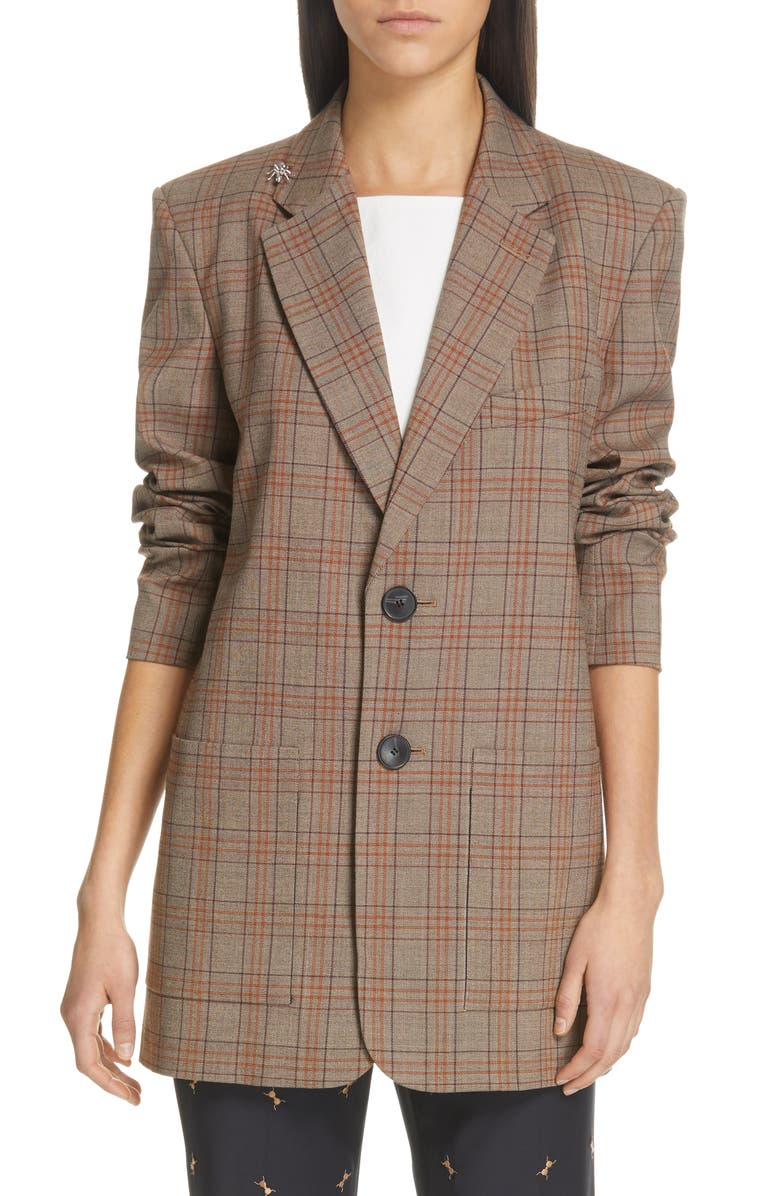 TIBI James Menswear Check Long Blazer, Main, color, BROWN/ BLACK MULTI
