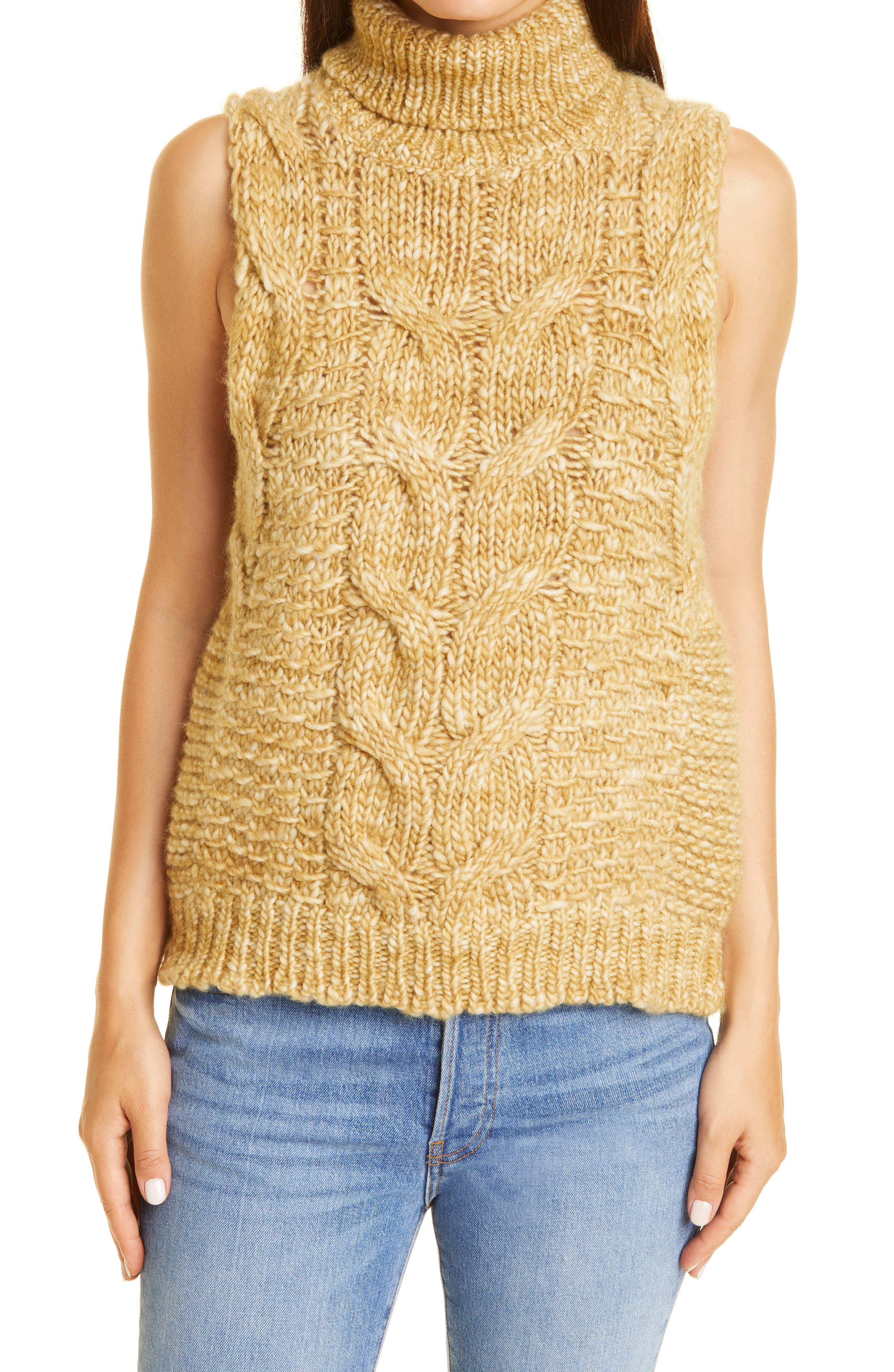 Sleeveless Turtleneck Wool Sweater