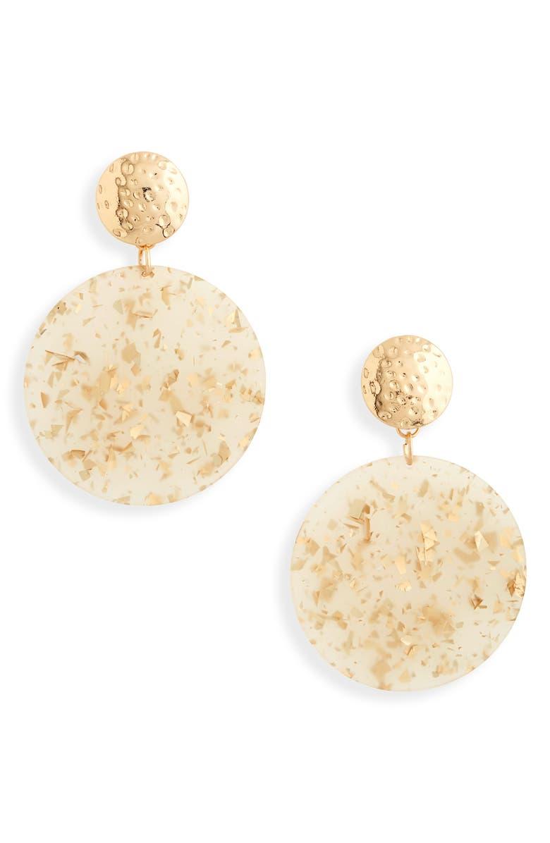BP. Glitter Resin Disc Drop Earrings, Main, color, NATURAL- GOLD
