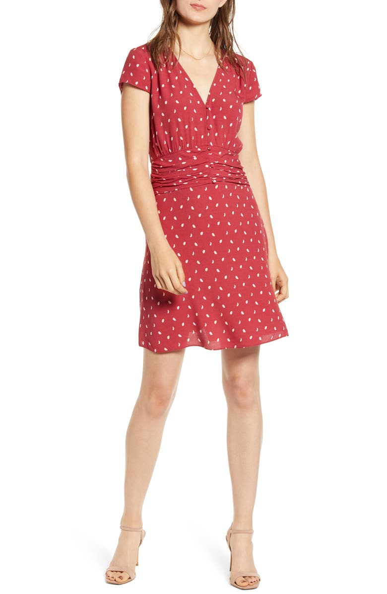 CHELSEA28 Ruched Waist Minidress, Main, color, RED EARTH DELICATE GEO