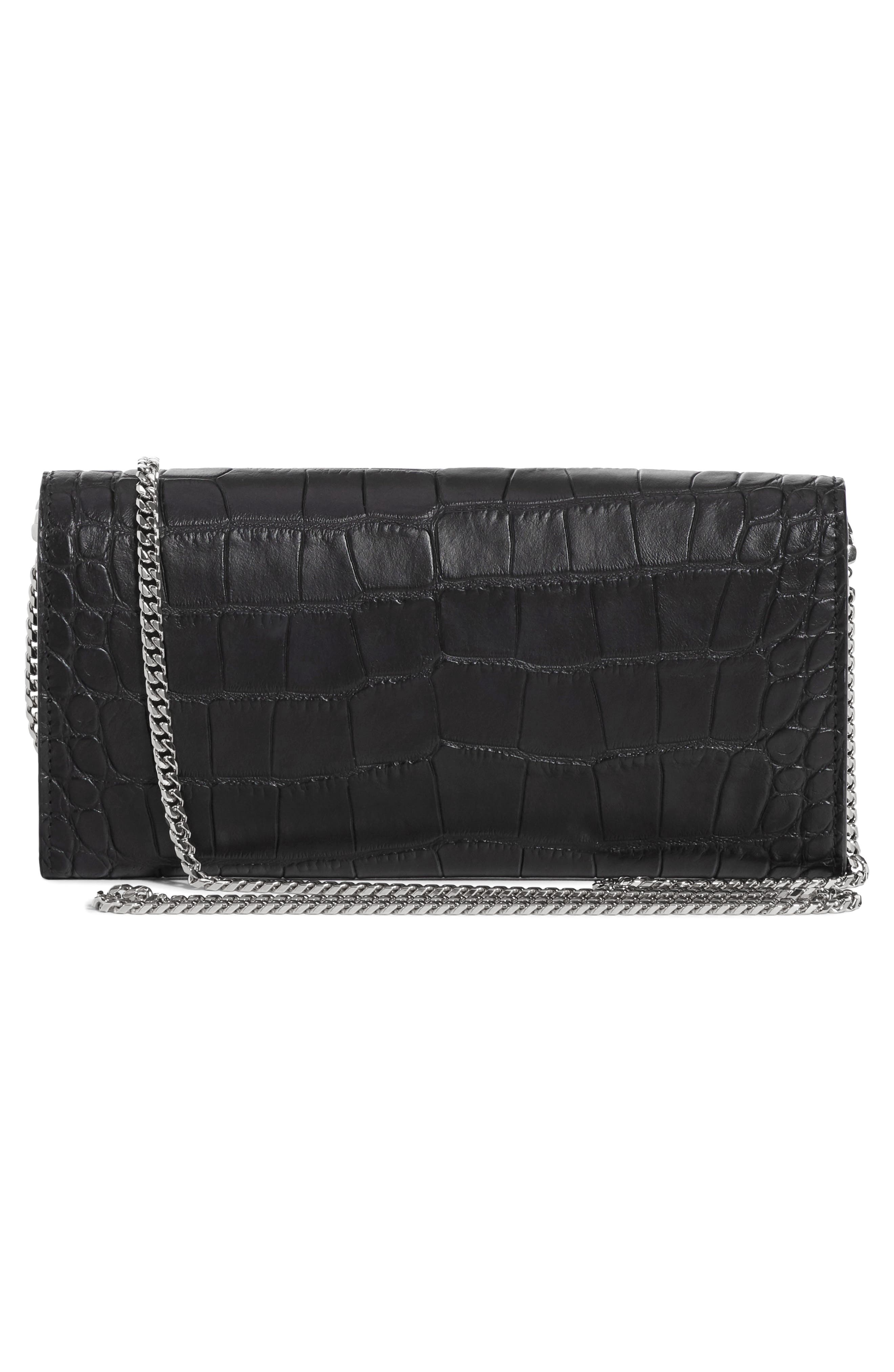 ,                             Skull Croc Embossed Leather Wallet on a Chain,                             Alternate thumbnail 2, color,                             001