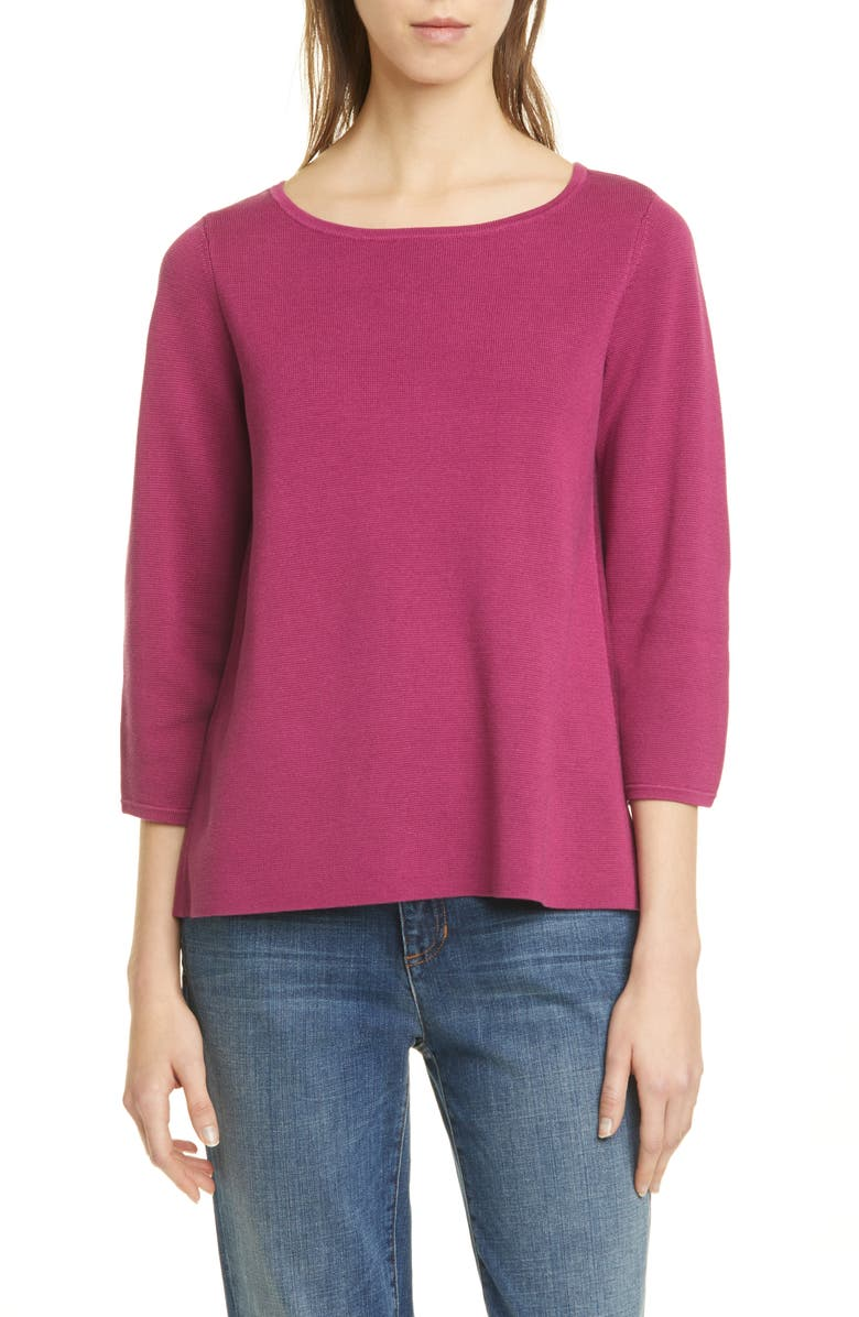 EILEEN FISHER Silk & Organic Cotton Sweater, Main, color, 545