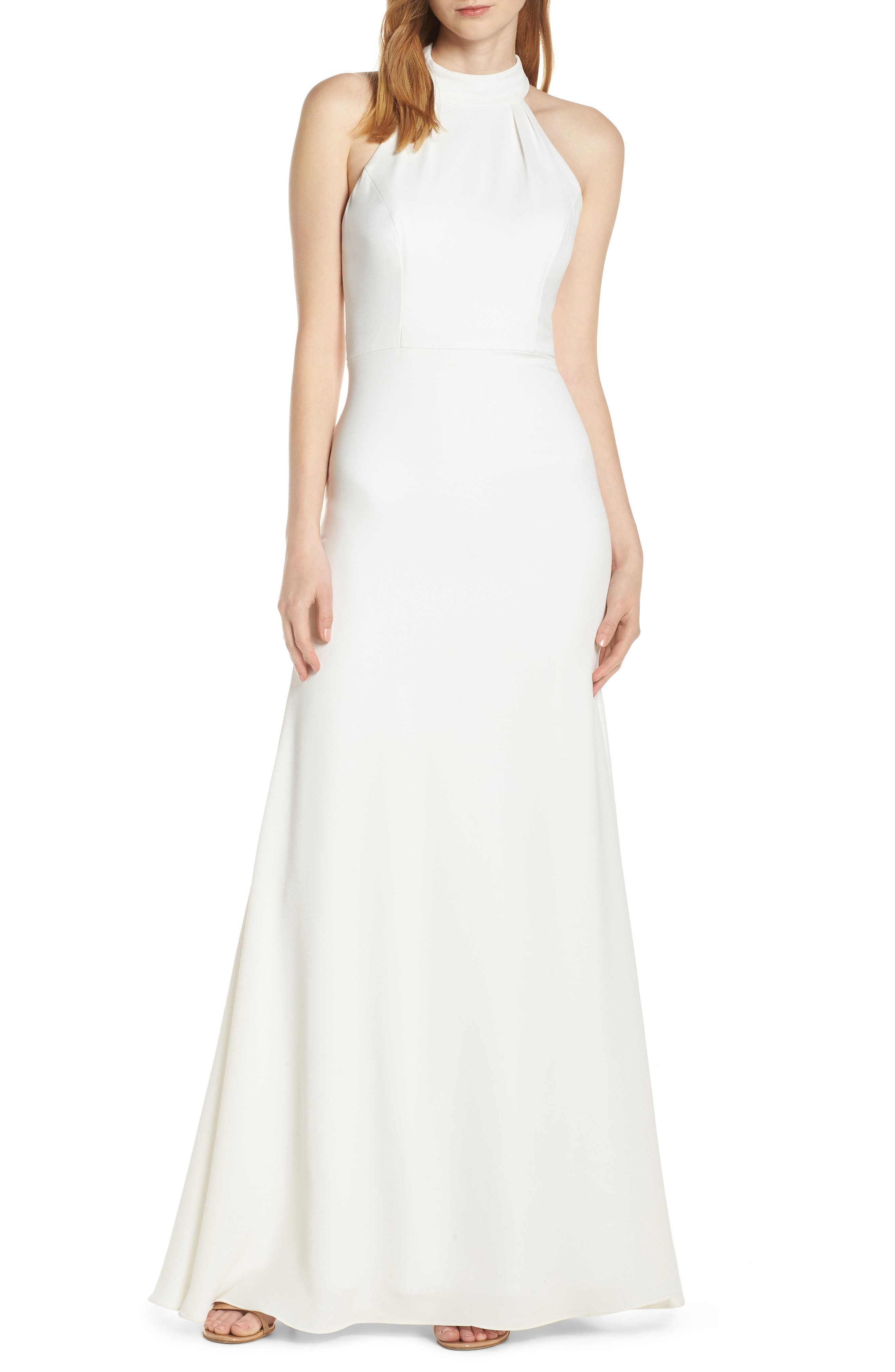 Hayley Paige Occasions Mock Neck Strappy Back Crepe Evening Dress, Ivory