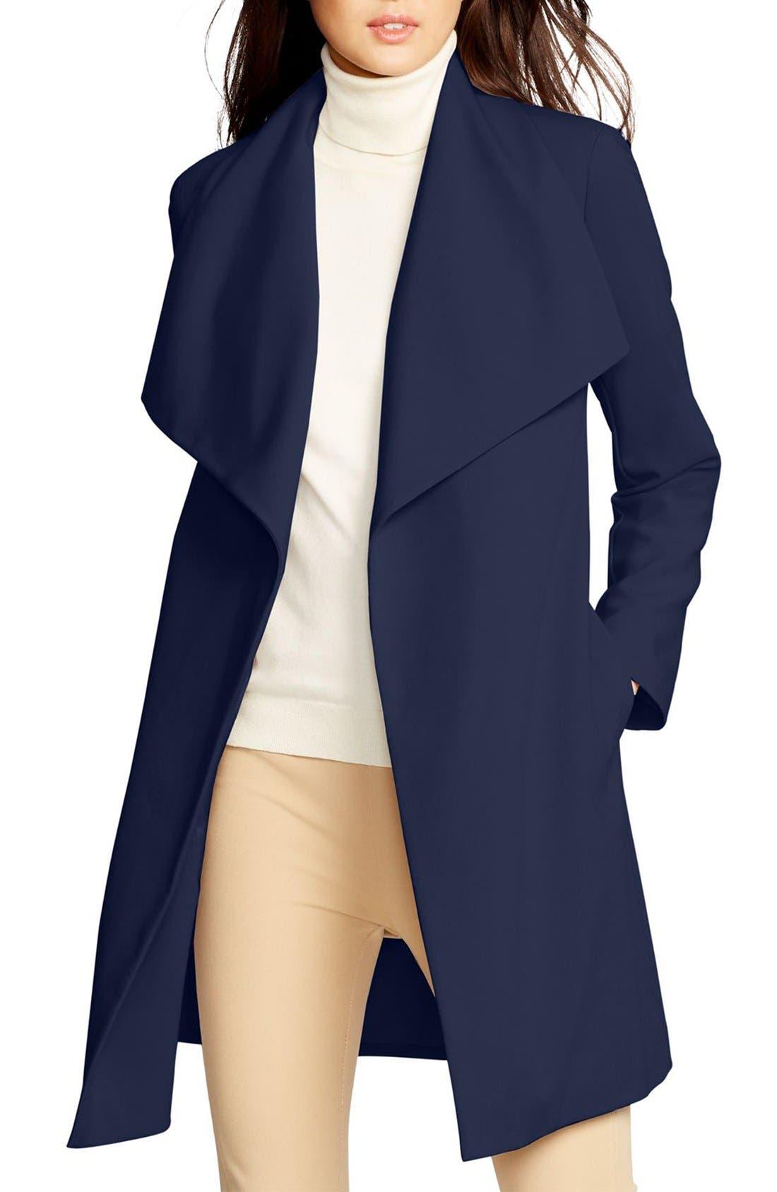 ,                             Belted Drape Front Coat,                             Main thumbnail 58, color,                             412