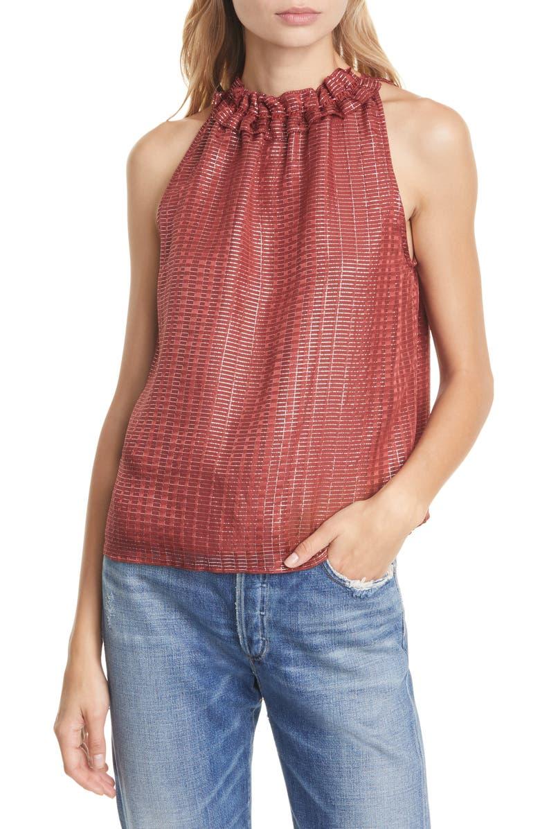 DOLAN Prasong Metallic Detail High Neck Silk Halter Top, Main, color, SPICED RED