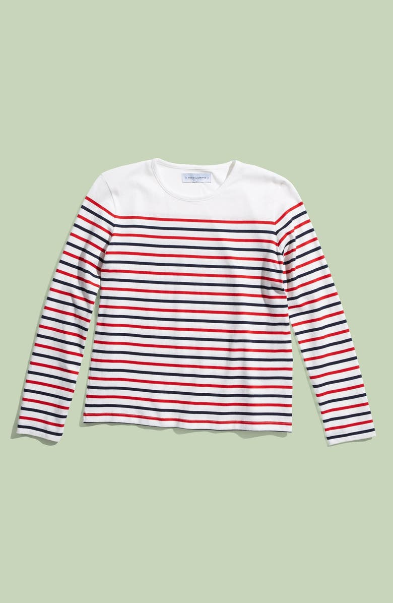 SOLID & STRIPED 'Island' Long Sleeve Knit Top, Main, color, 100