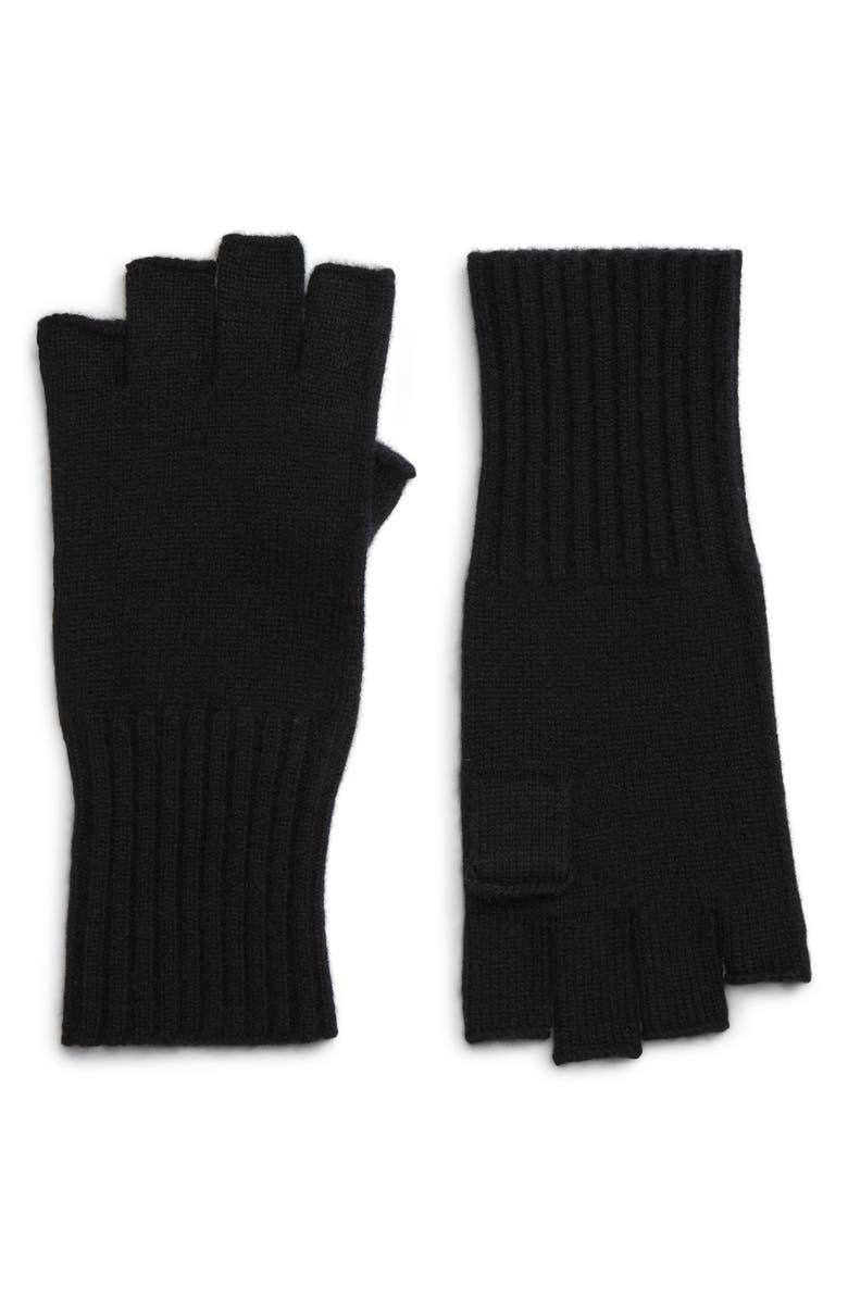HALOGEN<SUP>®</SUP> Fingerless Cashmere Gloves, Main, color, BLACK