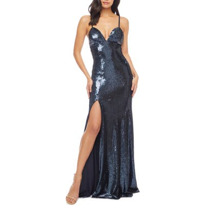 Dress The Population Alejandra Slit Sequin Gown, Blue