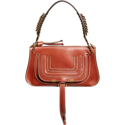 Chloe Mini Marcie Lizard Embossed Leather Satchel - Brown