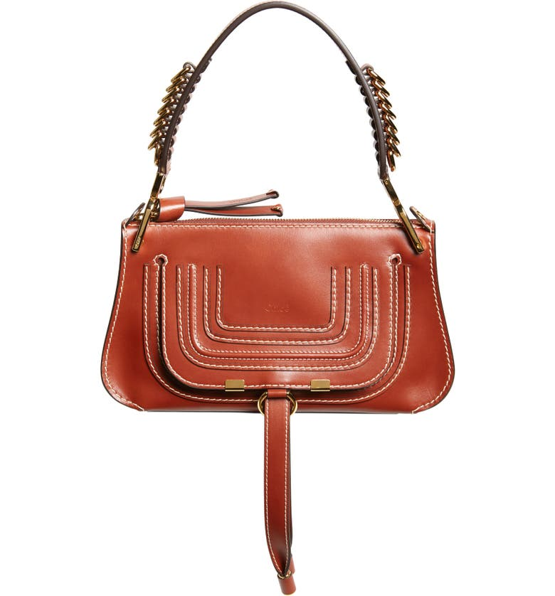 CHLOÉ Mini Marcie Lizard Embossed Leather Satchel, Main, color, 205