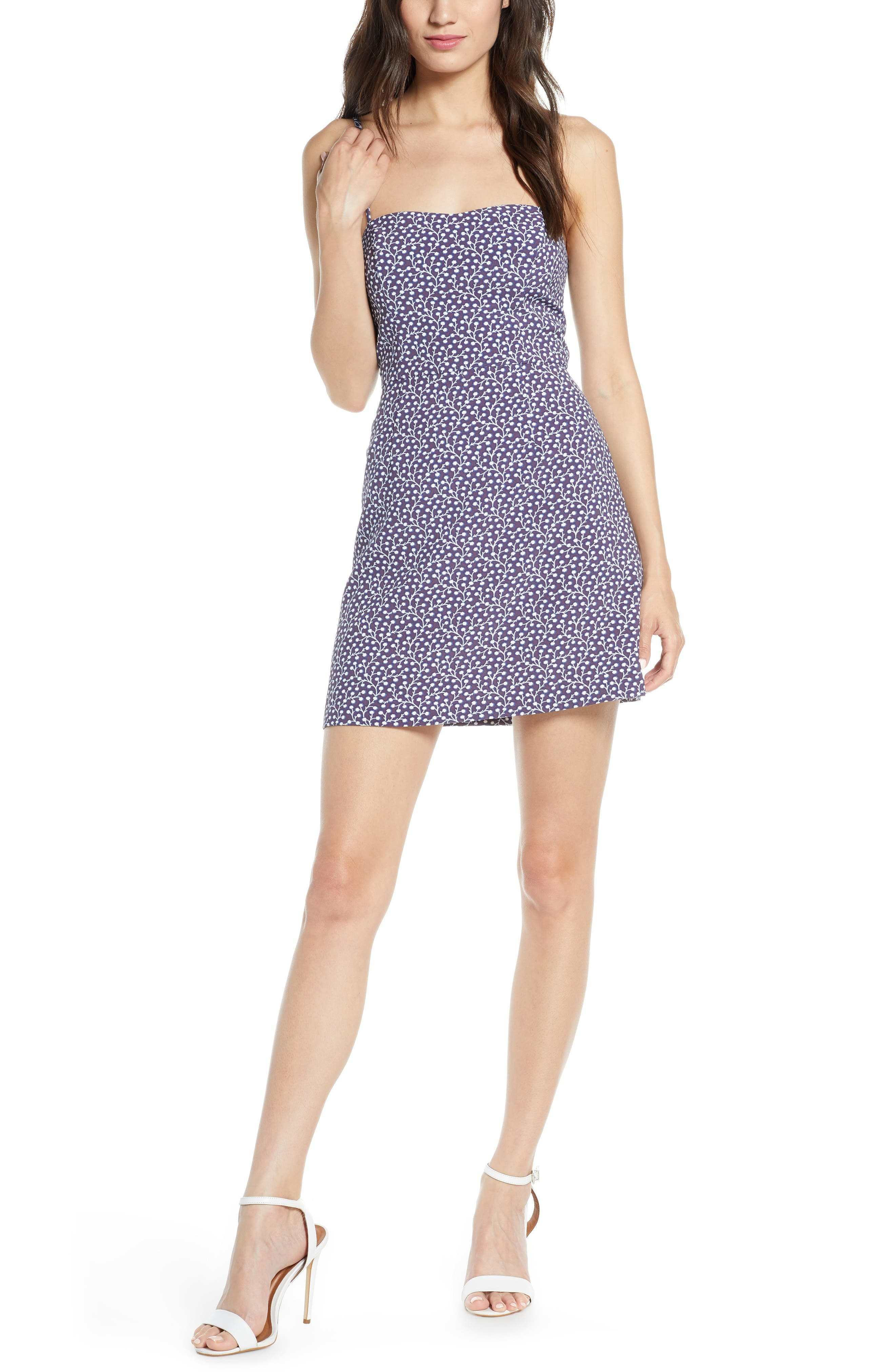 French Connection Elao Print Stretch Cotton Sundress, Blue
