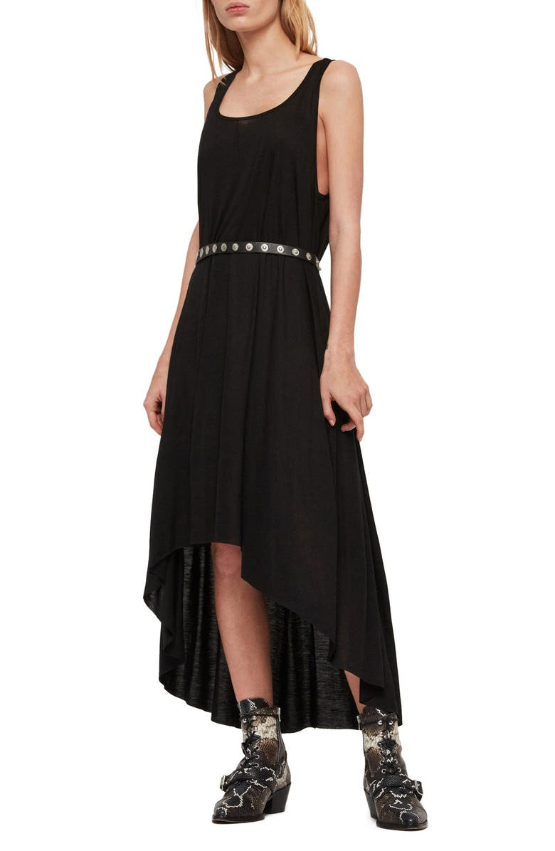 ALLSAINTS Frederike High/Low Jersey Dress, Main, color, BLACK