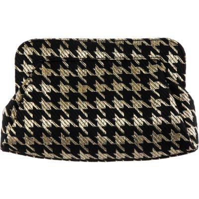 Nina Metallic Houndstooth Clutch - Metallic