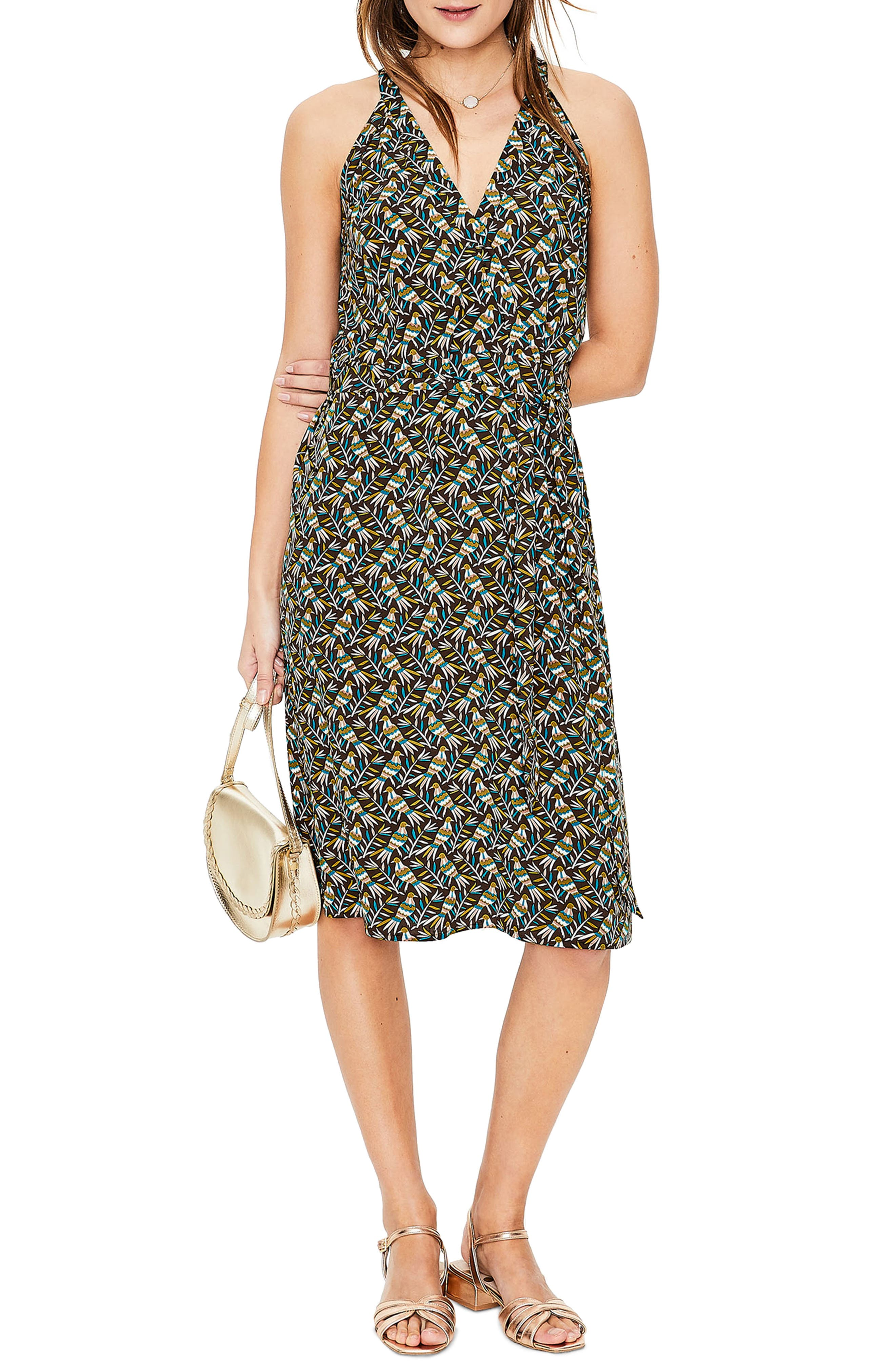 Boden Olwen Print Halter Dress, Green