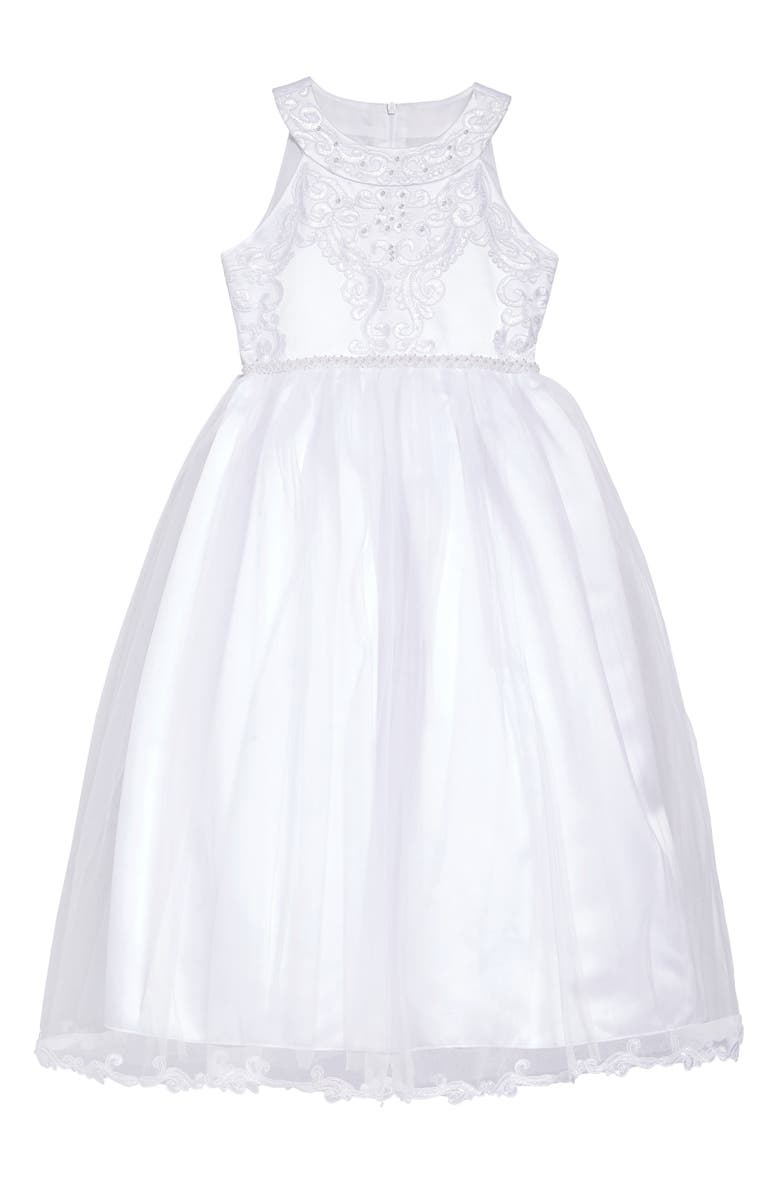 IRIS & IVY Embroidered Sleeveless Tulle Dress, Main, color, WHITE