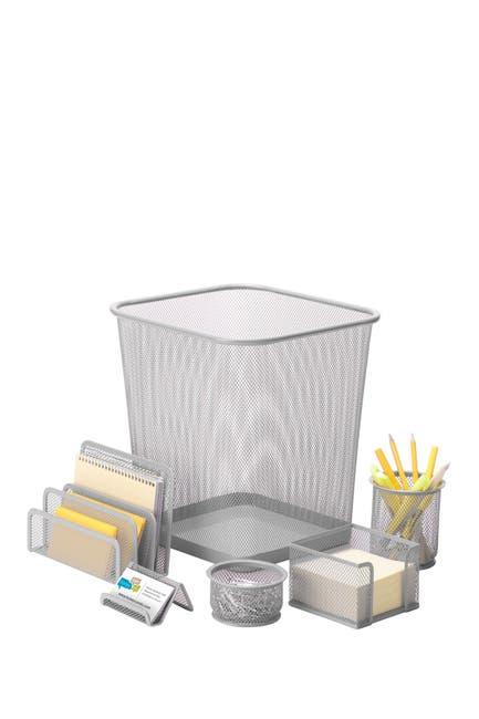 Image of Honey-Can-Do Silver Steel Mesh Desk Set - Set of 6