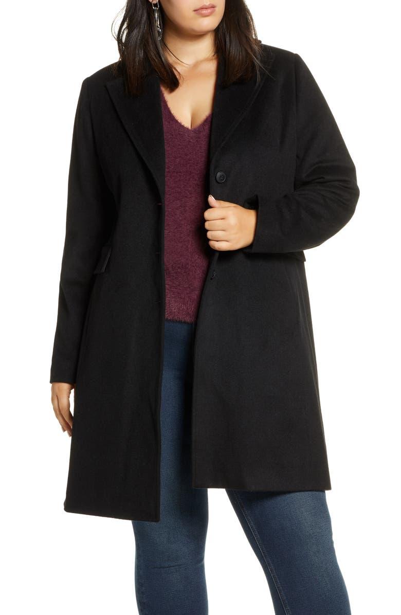 HALOGEN<SUP>®</SUP> Wool Blend Topcoat, Main, color, BLACK