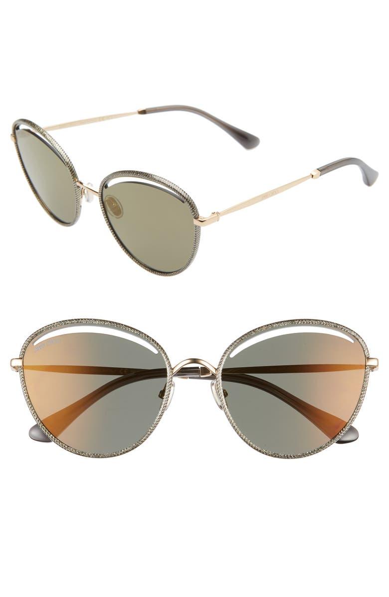 JIMMY CHOO Malya 59mm Cutout Lens Sunglasses, Main, color, GOLD GREY/ BROWN GOLD