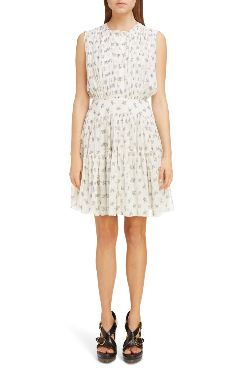 CHLOÉ Gathered Floral Silk Georgette Minidress, Main, color, WHITE - GREY 1