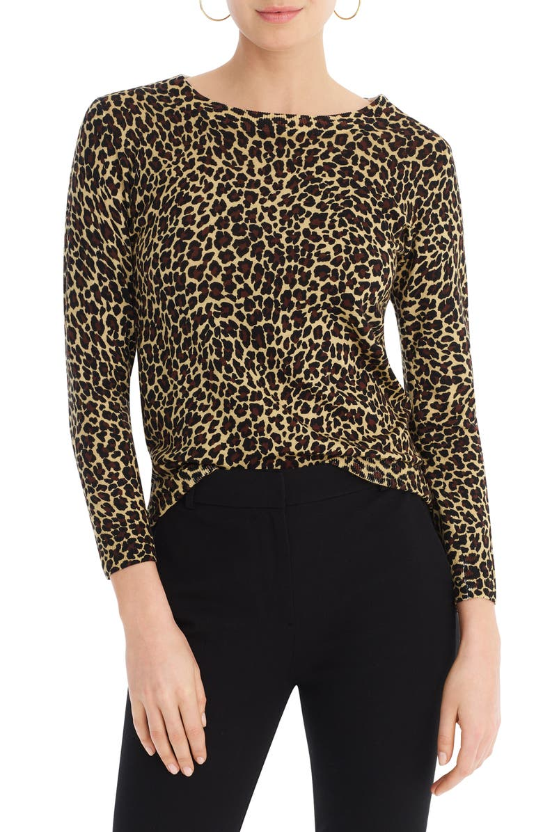 J.CREW Tippi Leopard Merino Wool Sweater, Main, color, LEOPARD