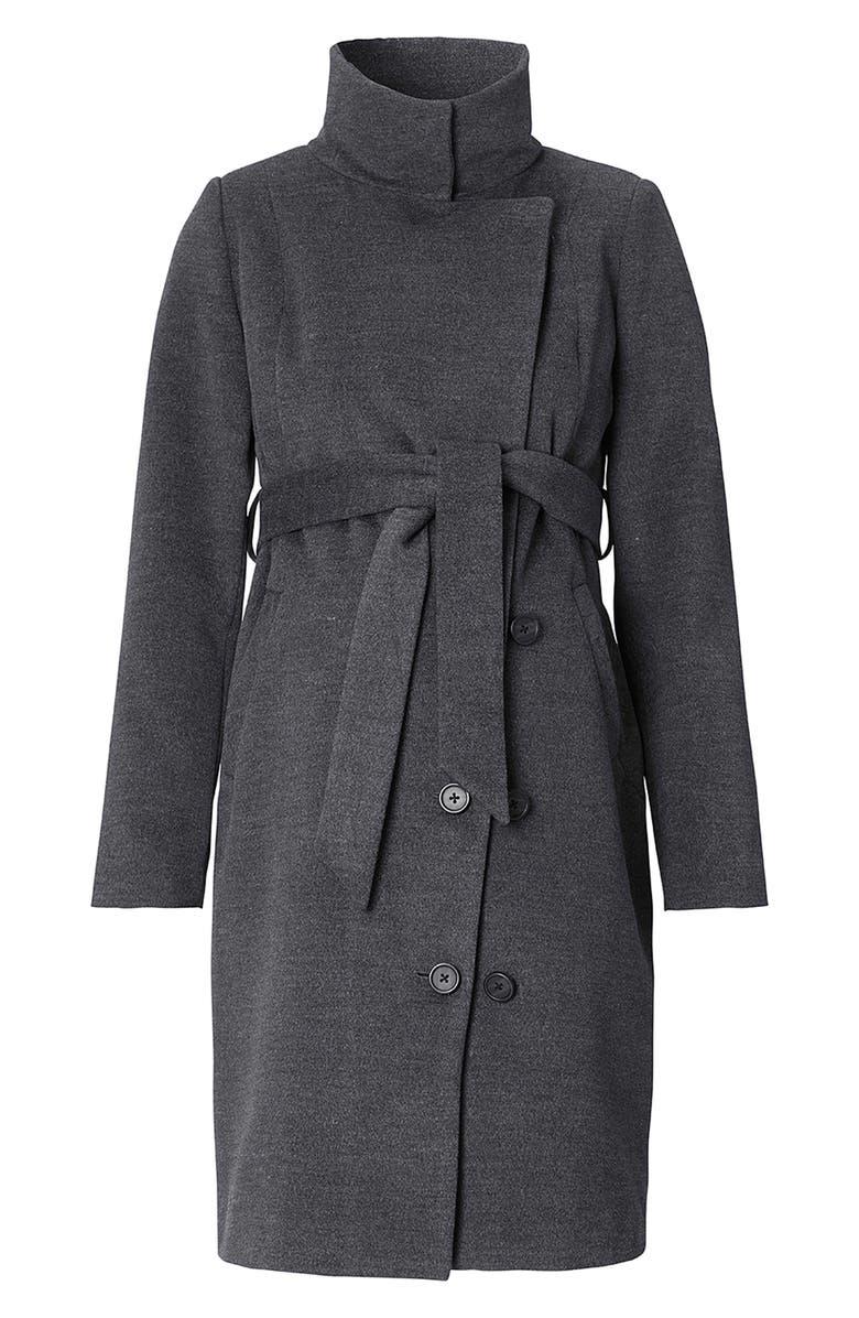 NOPPIES Ilena 2 Maternity Coat, Main, color, BLACK MELANGE