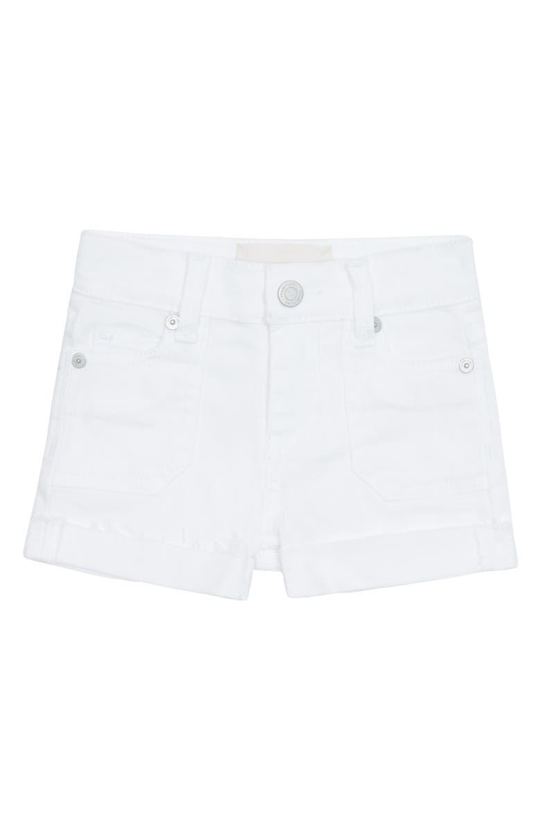 HABITUAL Girl Thulia Frayed Cuffed Shorts, Main, color, WHITE