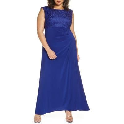 Plus Size Alex Evenings Cowl Back Gown, Blue
