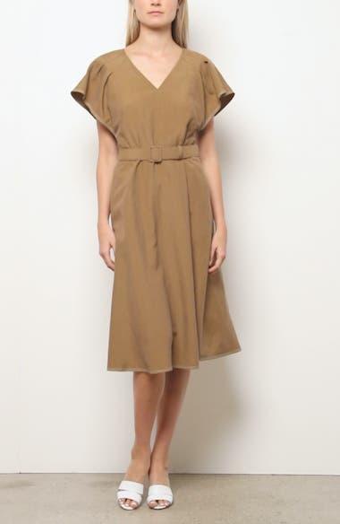 Kline Belted Silk & Linen Midi Dress, video thumbnail
