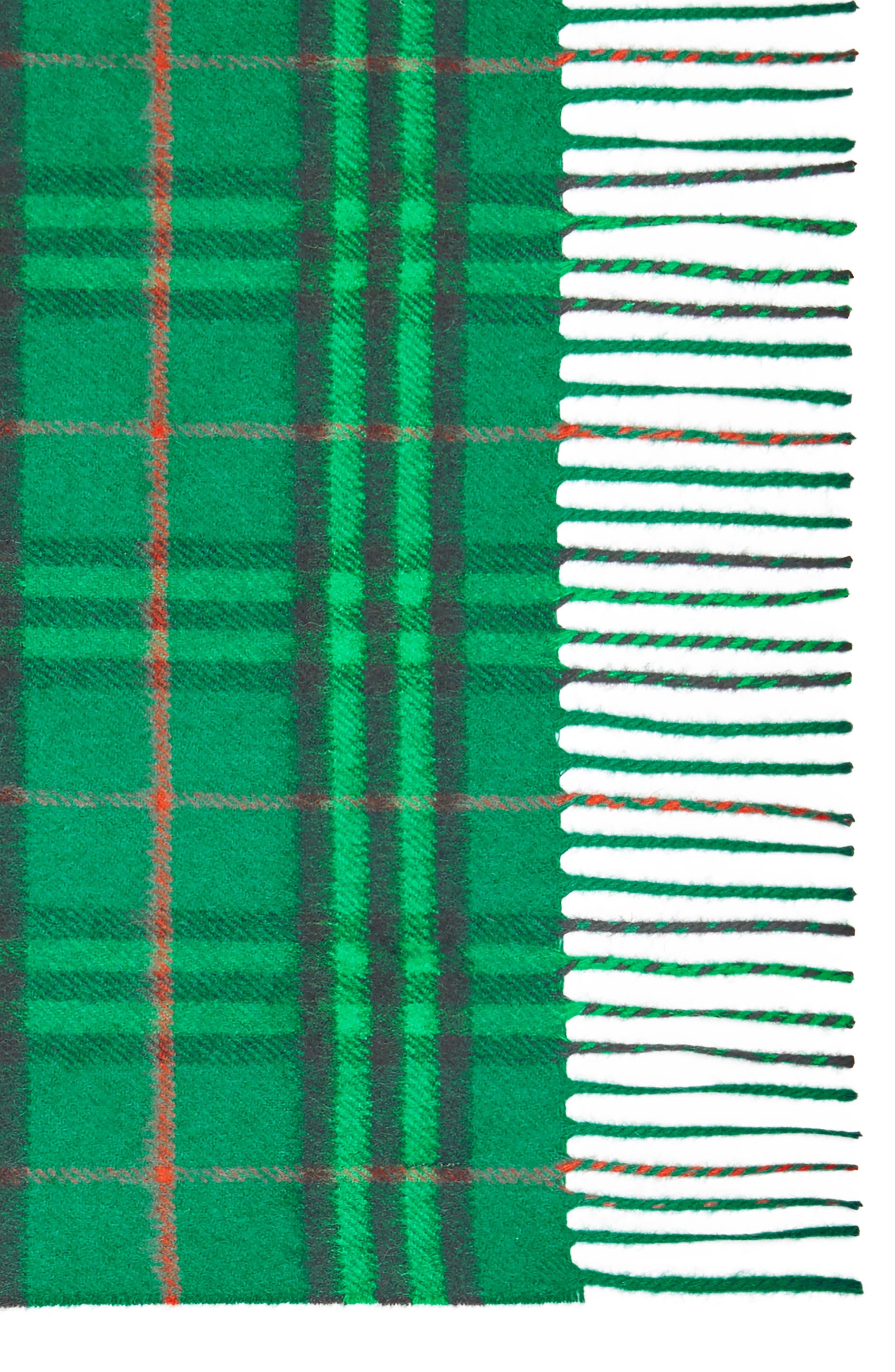 ,                             Vintage Check Cashmere Scarf,                             Alternate thumbnail 4, color,                             VIRIDIAN GREEN