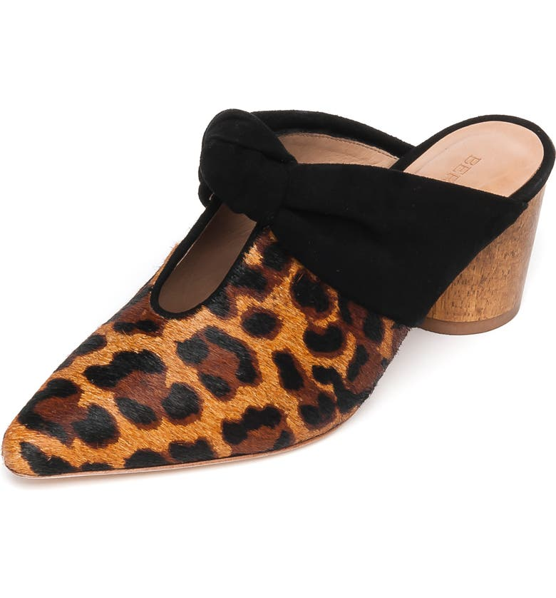 BERNARDO Finley Knot Mule, Main, color, LEOPARD CALF HAIR/ BLACK SUEDE