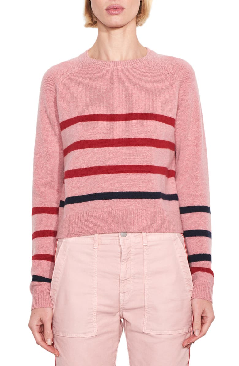 SUNDRY Stripe Wool & Cashmere Sweater, Main, color, BALLET