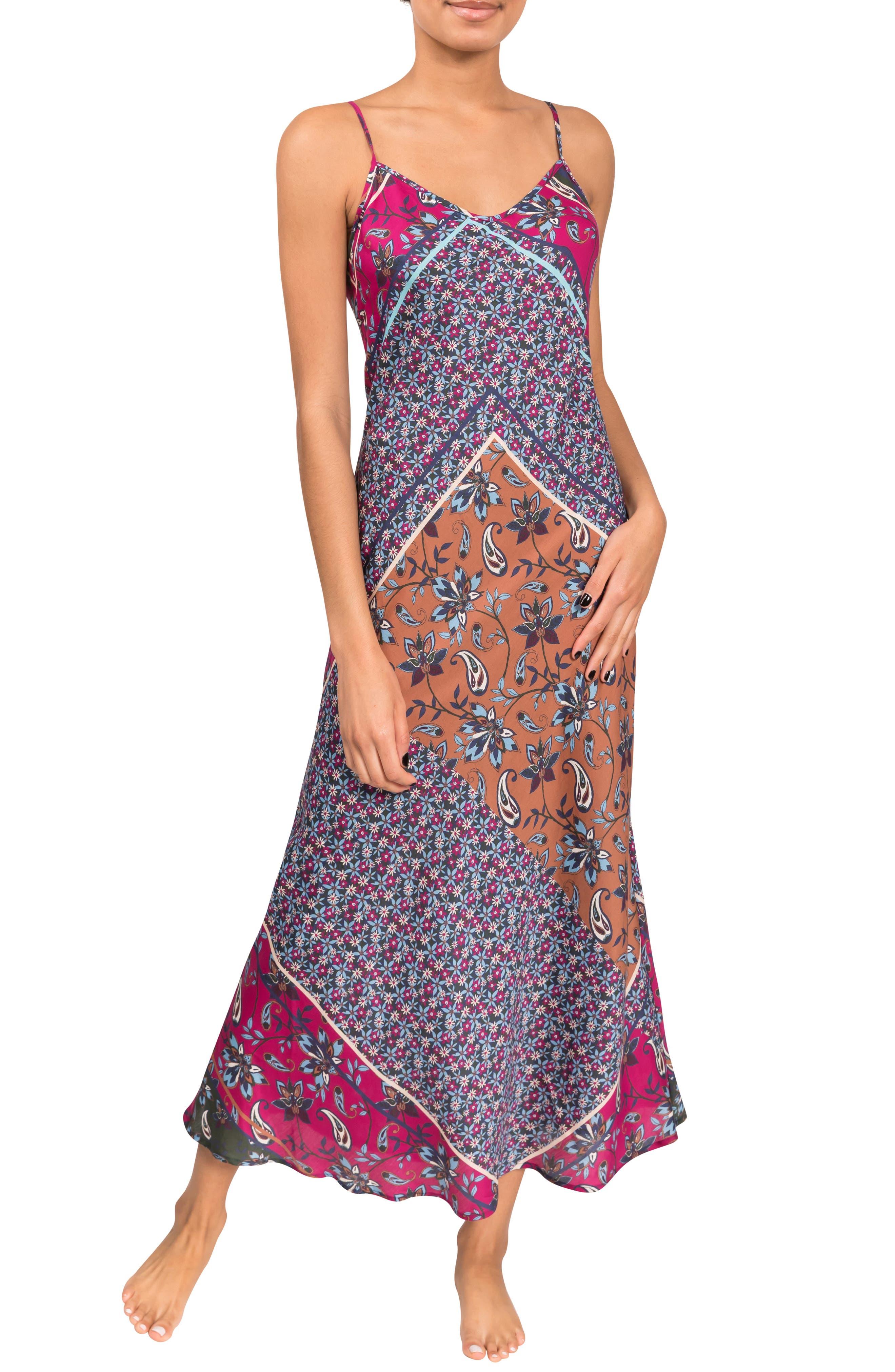 Angelina Floral Cotton & Silk Slip Nightgown
