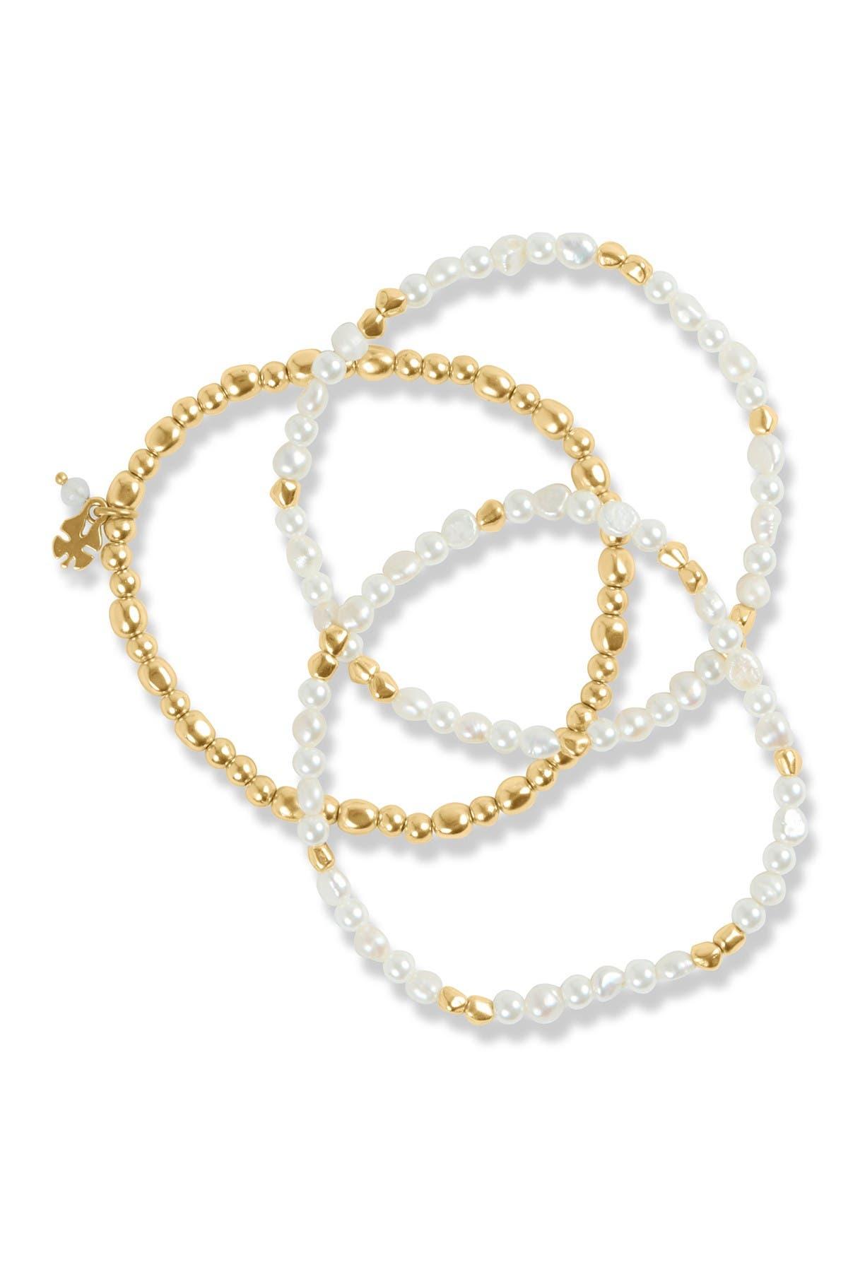 Image of Lucky Brand Imitation & Freshwater Pearl Beaded Bracelet Set - Set of 3