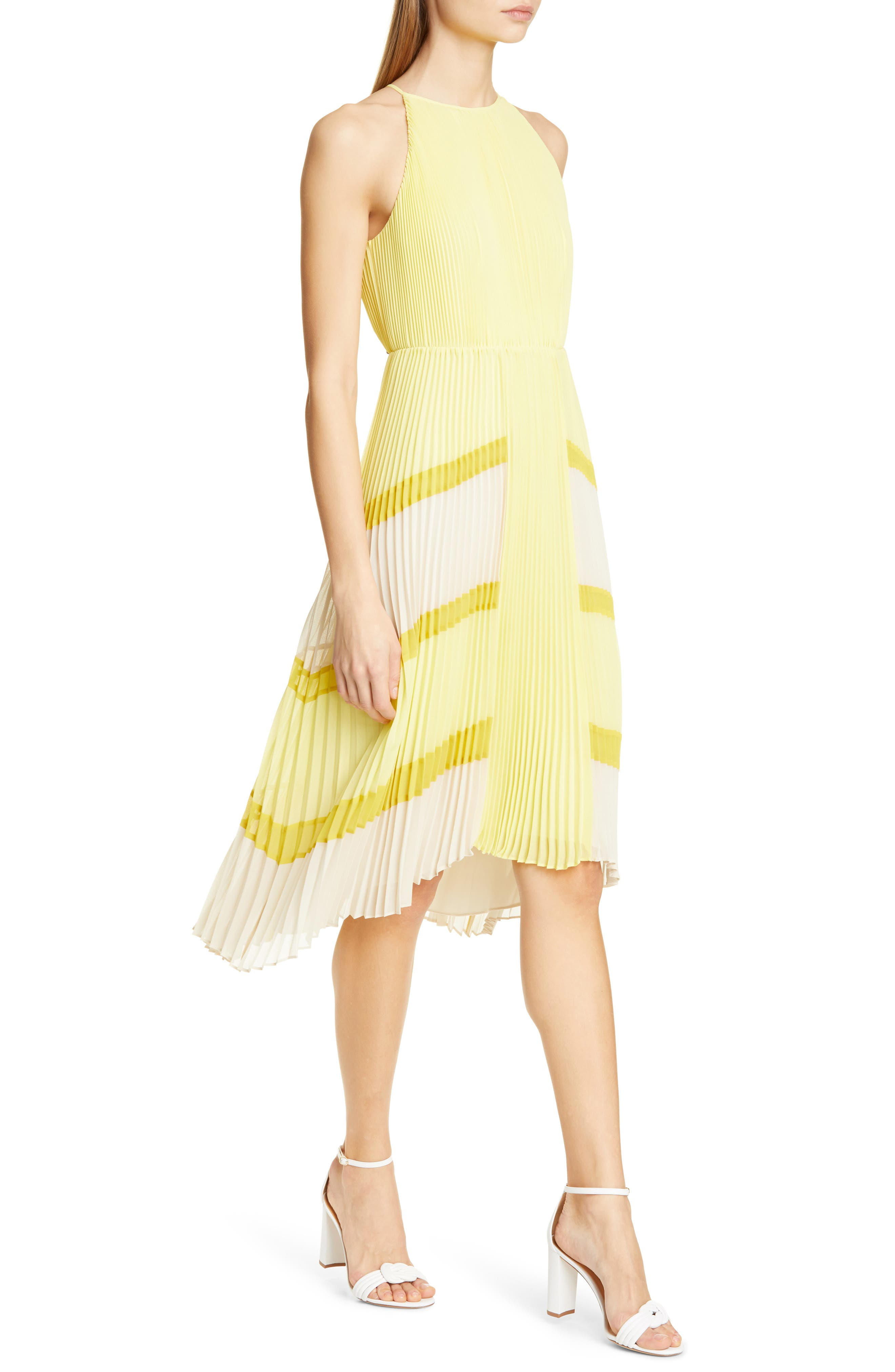 Ted Baker London Nellina Pleated Midi Dress, Yellow