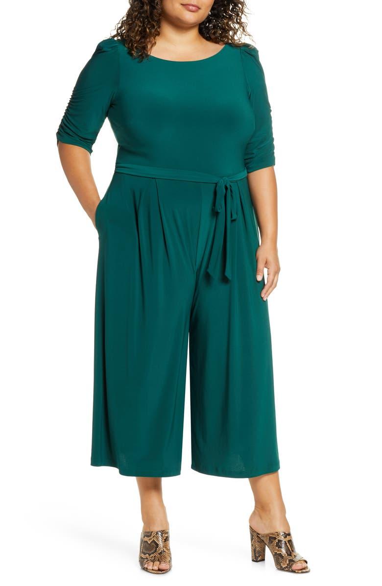 ELIZA J Ruched Sleeve Wide Leg Crop Jumpsuit, Main, color, GREEN