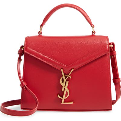 Saint Laurent Mini Cassandre Leather Top Handle Bag - Red