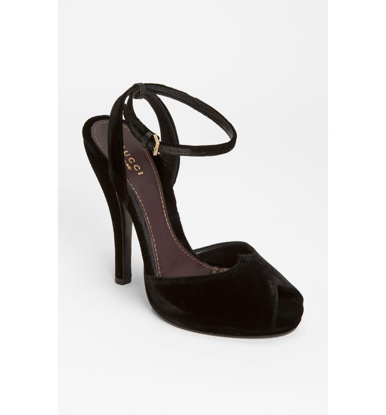 GUCCI Ankle Strap Sandal, Main, color, 001