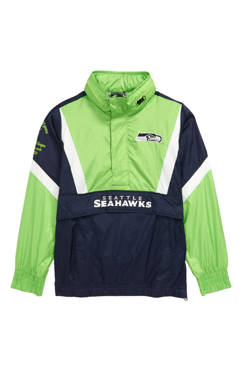 OUTERSTUFF NFL Logo Seattle Seahawks Crinkle Nylon Half Zip Pullover, Main, color, COLLEGE NAVY