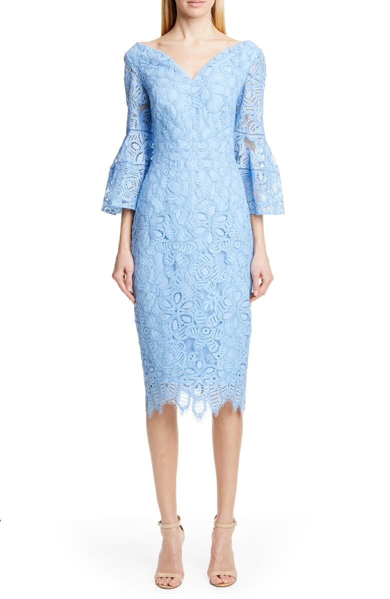 LELA ROSE Portrait Neck Lace Midi Dress, Main, color, SKY