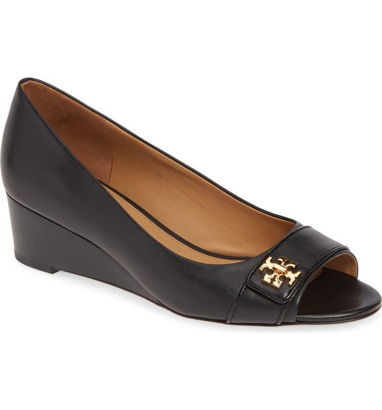 TORY BURCH Kira Open Toe Wedge, Main, color, PERFECT BLACK/ PERFECT BLACK