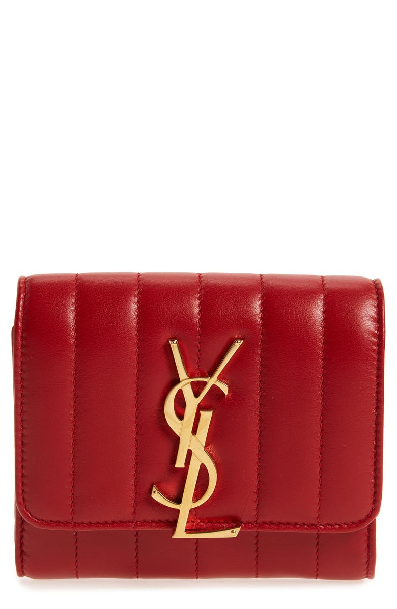 SAINT LAURENT Vicky Lambskin Leather Trifold Wallet, Main, color, ROUGE EROS