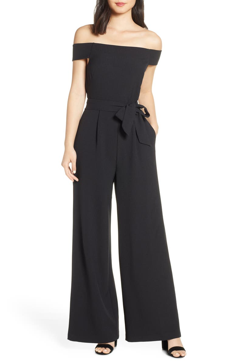 ELIZA J Off the Shoulder Wide Leg Crepe Jumpsuit, Main, color, BLACK