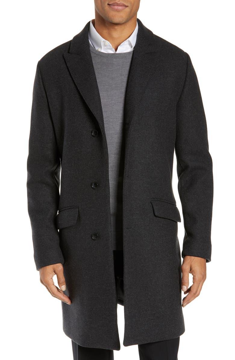 BONOBOS Slim Fit Wool Blend Topcoat, Main, color, CHARCOAL
