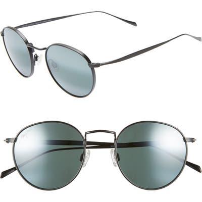 Maui Jim Nautilus 50Mm Polarizedplus2 Round Sunglasses - Matte Black/ Neutral Grey