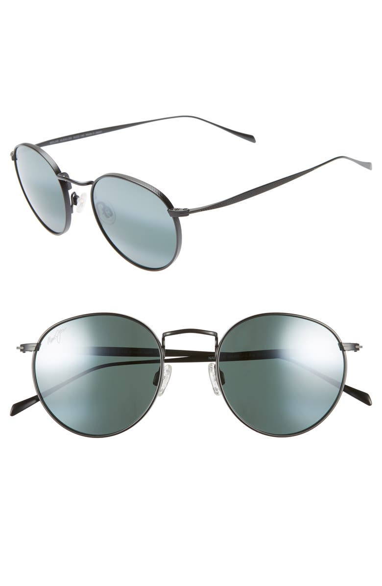 MAUI JIM Nautilus 50mm PolarizedPlus2<sup>®</sup> Round Sunglasses, Main, color, MATTE BLACK/ NEUTRAL GREY