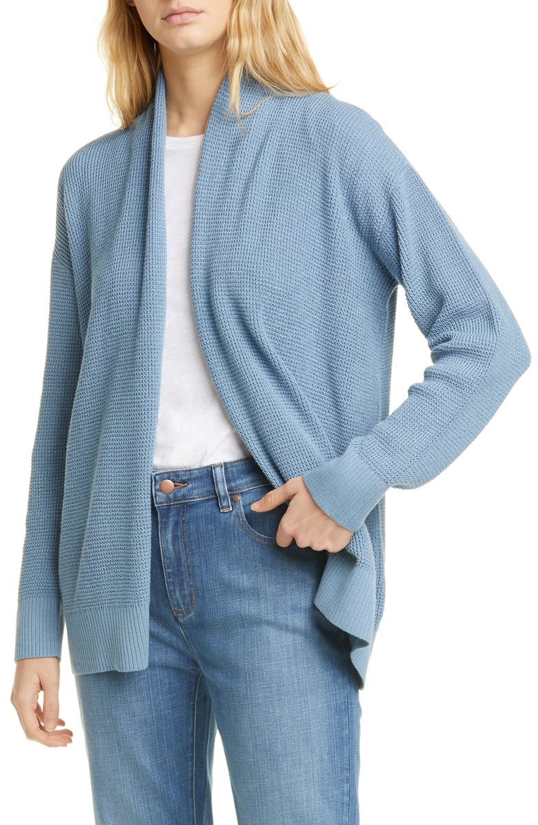 EILEEN FISHER Organic Cotton Open Front Cardigan, Main, color, HAZE