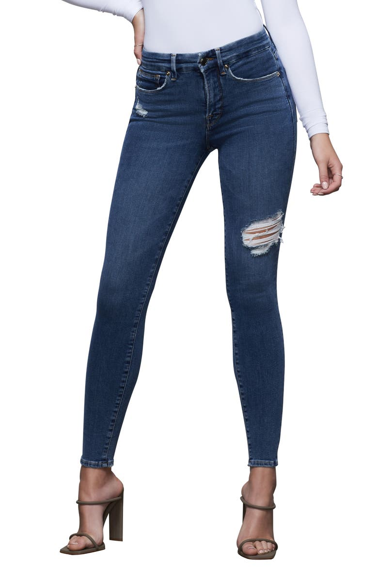 GOOD AMERICAN Good Legs Ripped High Waist Ankle Skinny Jeans, Main, color, BLUE371